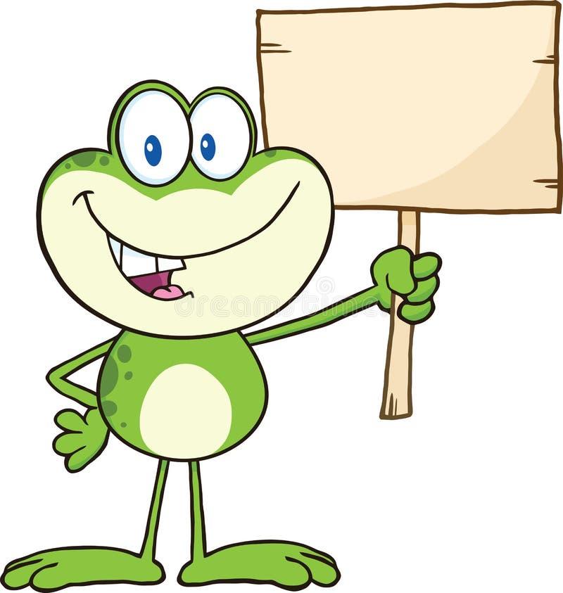 Personnage de dessin animé mignon de grenouille verte retardant un signe en bois illustration de vecteur