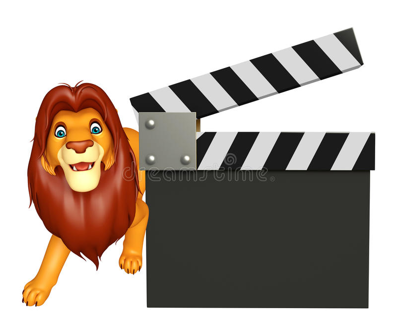 Personnage de dessin animé mignon de lion avec le bardeau illustration libre de droits