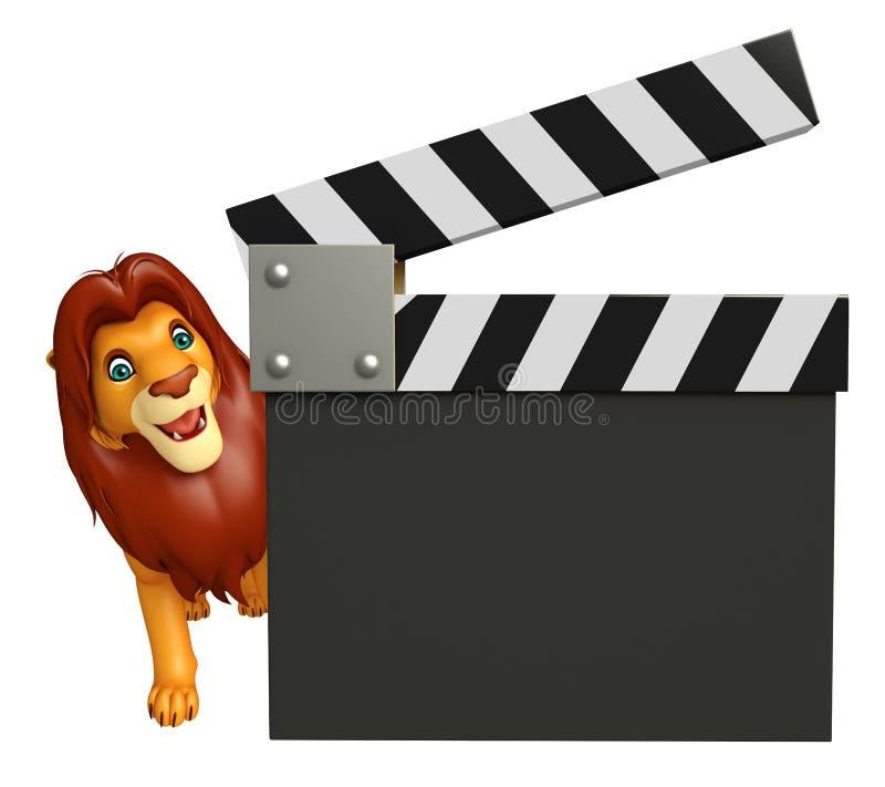 Personnage de dessin animé mignon de lion avec le bardeau illustration stock