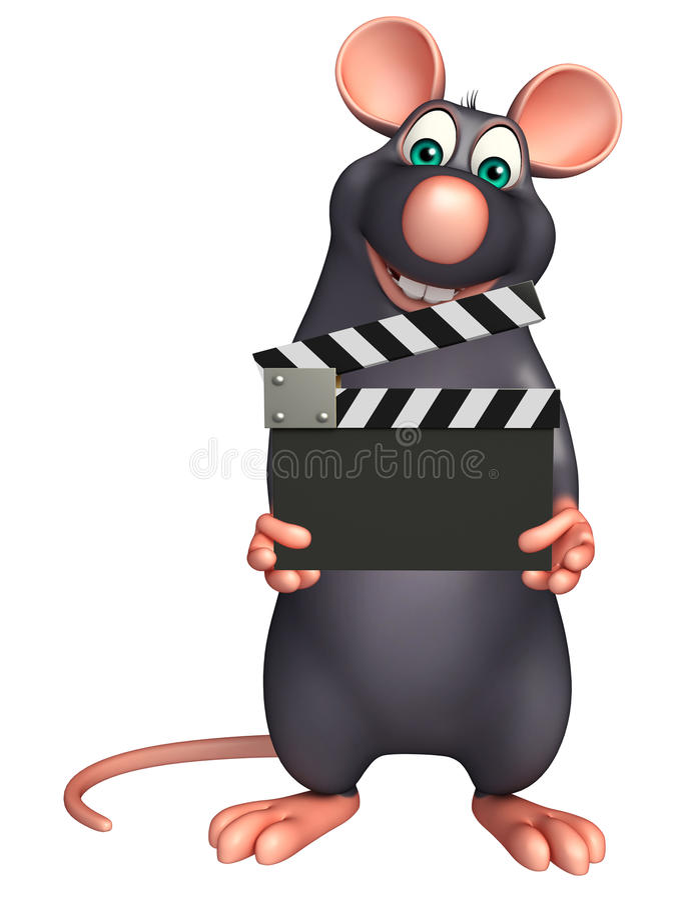 personnage de dessin animé mignon de rat avec le bardeau illustration libre de droits