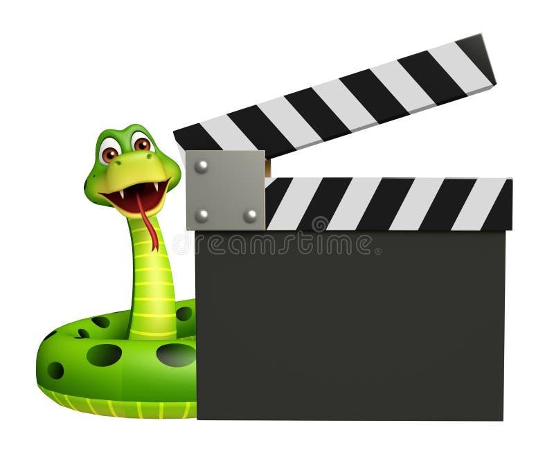 Personnage de dessin animé mignon de serpent avec le bardeau illustration libre de droits