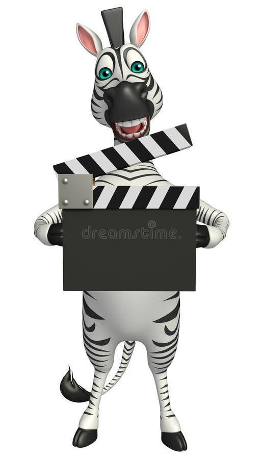 Personnage de dessin animé mignon de zèbre avec le bardeau illustration stock