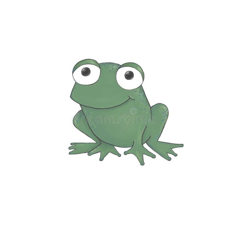 Personnage de dessin anim? mignon de grenouille verte d'aquarelle d'isolement sur le fond blanc illustration de vecteur