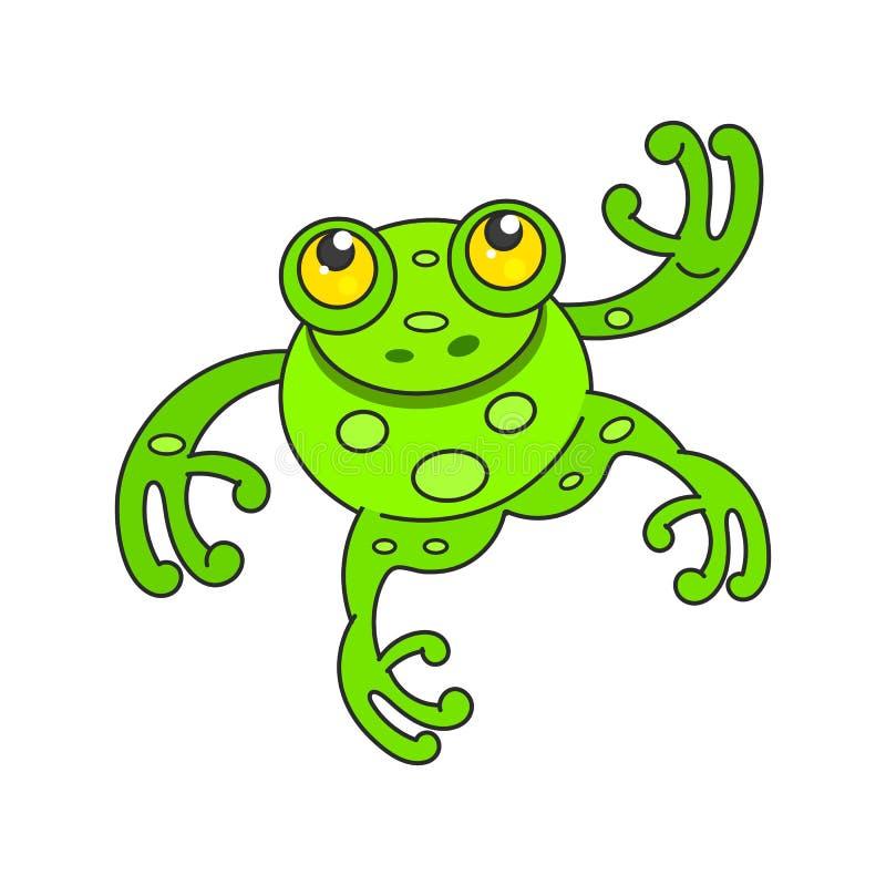 Personnage de dessin animé mignon de grenouille verte d'isolement sur le blanc illustration stock