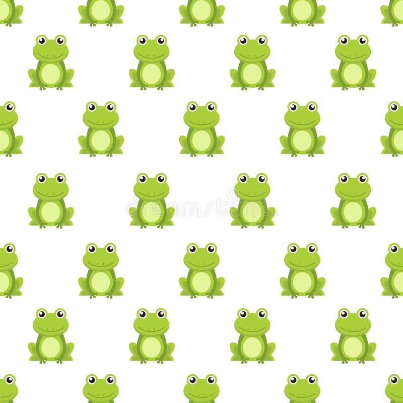 Personnage de dessin animé mignon de grenouille verte de modèle sans couture illustration de vecteur