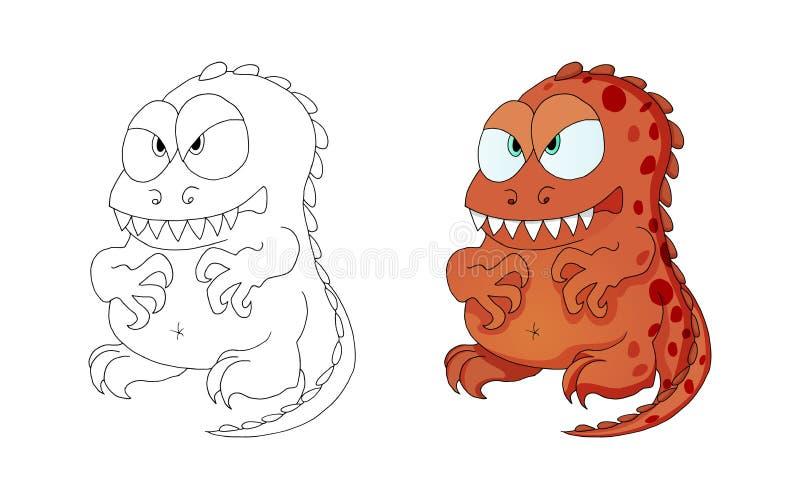 Personnage de dessin animé de monstre de dinosaures pour l'enfant d'isolement sur le fond blanc illustration stock