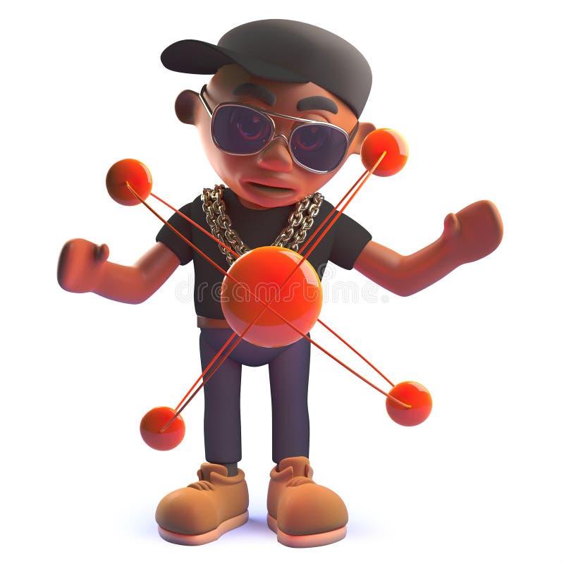 Personnage de dessin animé noir de chanteur de coup sec et dur d'houblon de hanche dans 3d avec un atome nucléaire illustration libre de droits