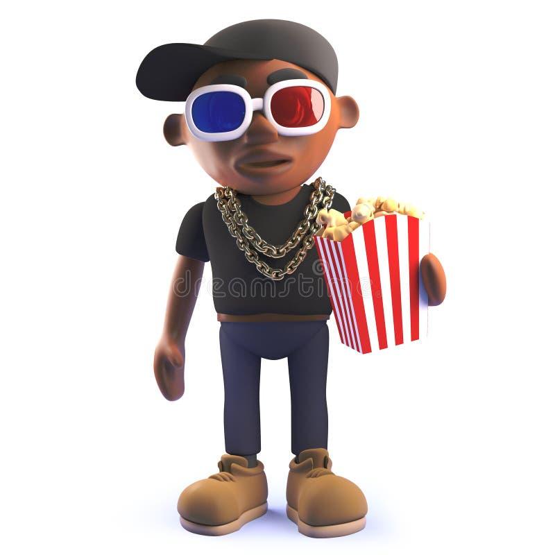 Personnage de dessin animé noir de frappeur d'houblon de hanche dans 3d portant les lunettes 3d et mangeant du maïs éclaté illustration libre de droits