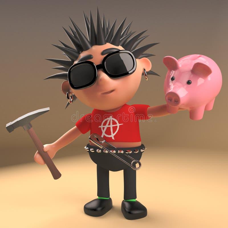 Personnage de dessin animé pauvre de punk rock environ pour heurter la tirelire avec le marteau, illustration 3d illustration de vecteur
