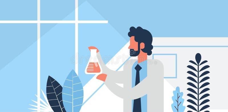 Personnage de dessin animé plat travaillant de portrait de pièce de laboratoire de chimie d'industrie pharmaceutique de verrerie  illustration de vecteur