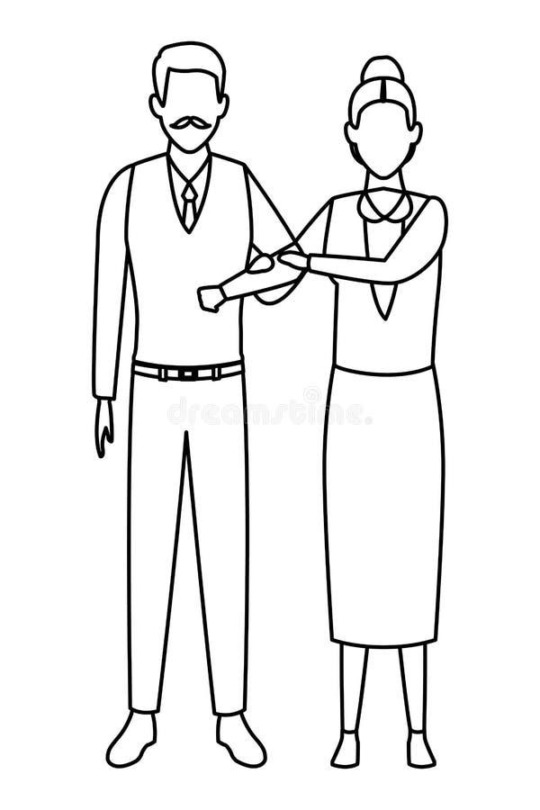 Personnage de dessin anim? plus ?g? d'avatar de couples noir et blanc illustration stock