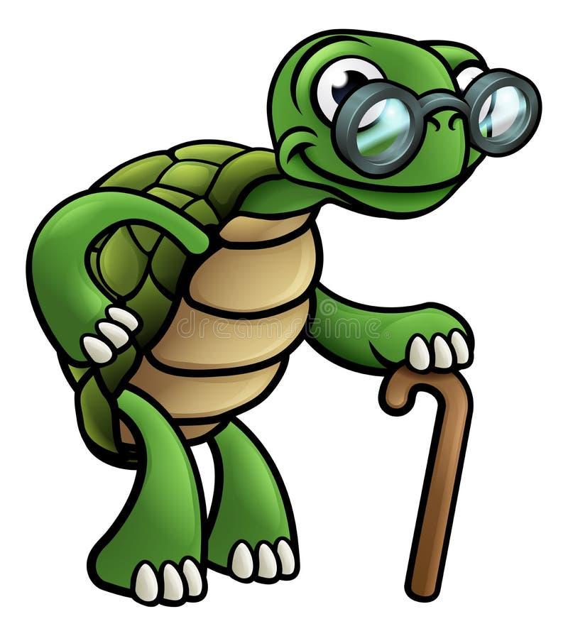 Personnage de dessin animé plus âgé de tortue illustration de vecteur