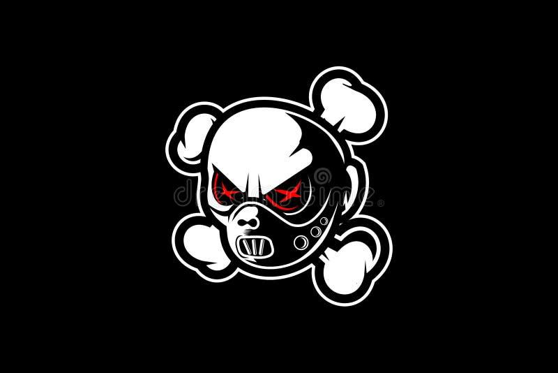 Personnage de dessin animé principal psychonévrotique de masque étonnant et unique de crâne avec le calibre de vecteur de crossbo illustration libre de droits