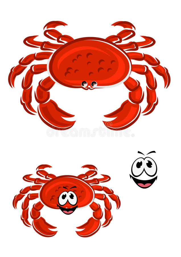 Personnage de dessin animé rouge d'animal de crabe illustration libre de droits