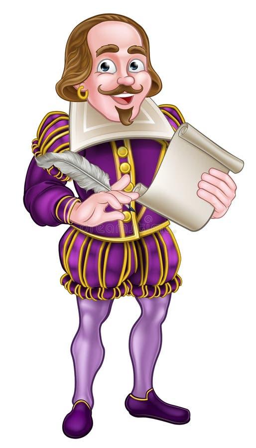 Personnage de dessin animé de Shakespeare illustration de vecteur