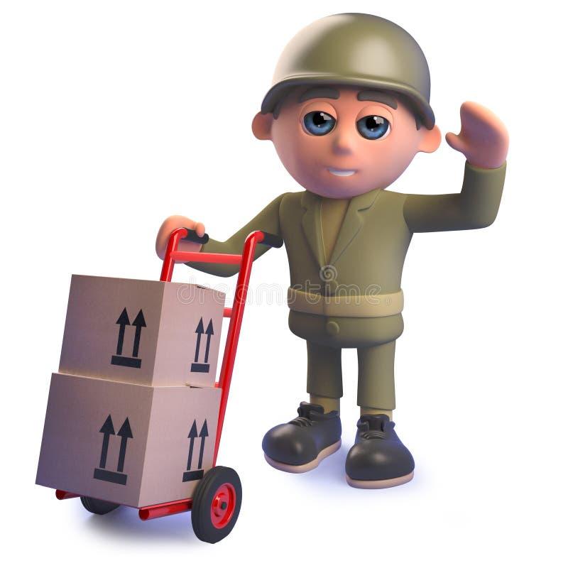 Personnage de dessin animé de soldat d'armée dans 3d avec des boîtes de chariot et de livraison de main illustration de vecteur