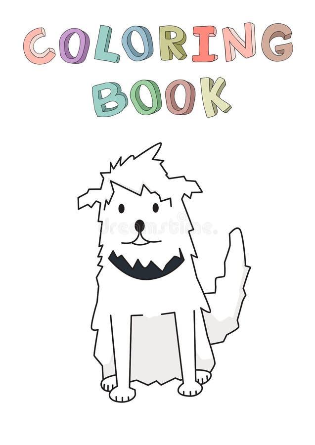 Personnage de dessin animé de sourire drôle de chien hirsute Animal familier hirsute de cabot avec le collier Illustration de vec illustration de vecteur