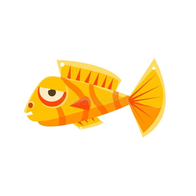 Personnage de dessin animé tropical de poissons d'aquarium fantastique flegmatique rayé orange illustration de vecteur