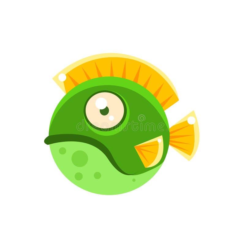 Personnage de dessin animé tropical de poissons d'aquarium fantastique repéré par rond vert grincheux illustration stock