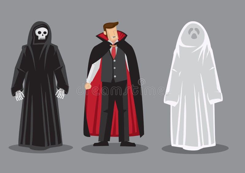 Personnage de dessin animé de vecteur dans des costumes de Halloween d'horreur