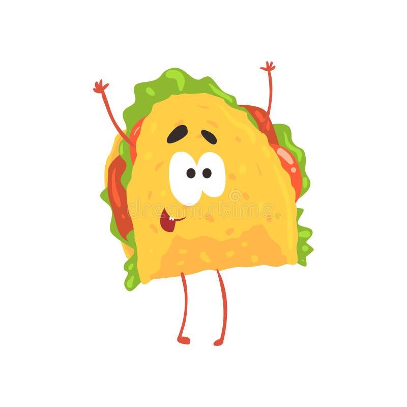 Personnage de dessin animé, viande et légumes drôles de taco dans une tortilla de maïs, illustration mexicaine traditionnelle de  illustration de vecteur