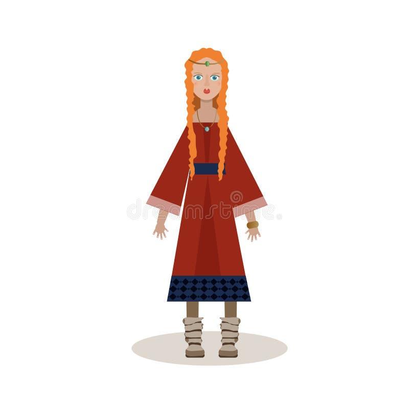 Personnage de dessin animé de Viking Femme notable Viking dans une longue robe, illustration stock