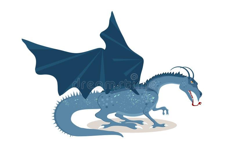 Personnage de dessin animé de Viking Le grand dragon de Feu-respiration Mythi illustration libre de droits