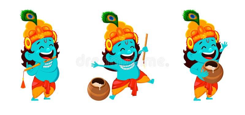 Personnage de dessin anim? dr?le Lord Krishna illustration stock