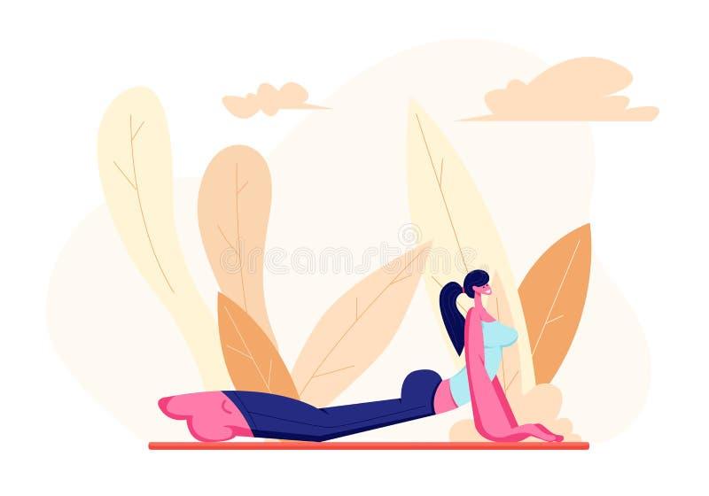 Personnage féminin dans la forme physique parfaite faisant des exercices de forme physique, de yoga ou d'aérobic sur la nature, f illustration libre de droits