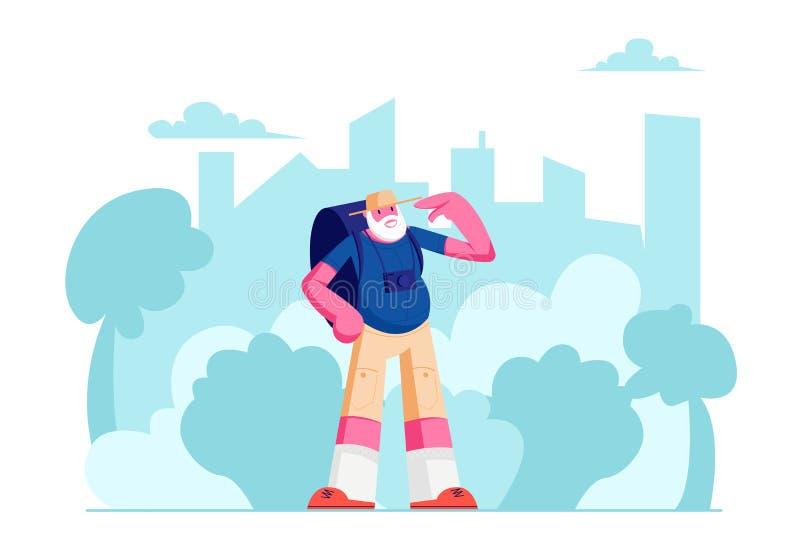 Personnage masculin de touristes supérieur avec le sac à dos dans le voyage de ville, homme de déplacement plus âgé avec le voyag illustration libre de droits