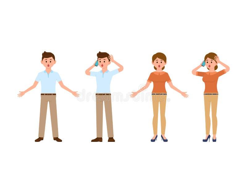 Personnages de dessin animé étonnés d'employés de bureau de garçon et de fille Gens d'affaires stupéfaits au travail illustration libre de droits