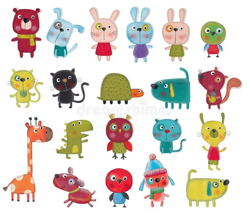 Personnages de dessin animé au-dessus de blanc image libre de droits