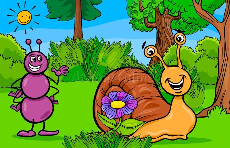 Personnages de dessin animé d'animal de fourmi et d'escargot illustration de vecteur