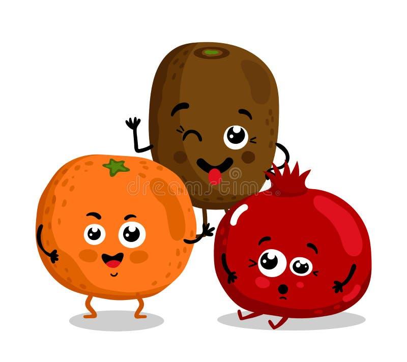 Personnages de dessin animé d'isolement par fruit drôle illustration libre de droits