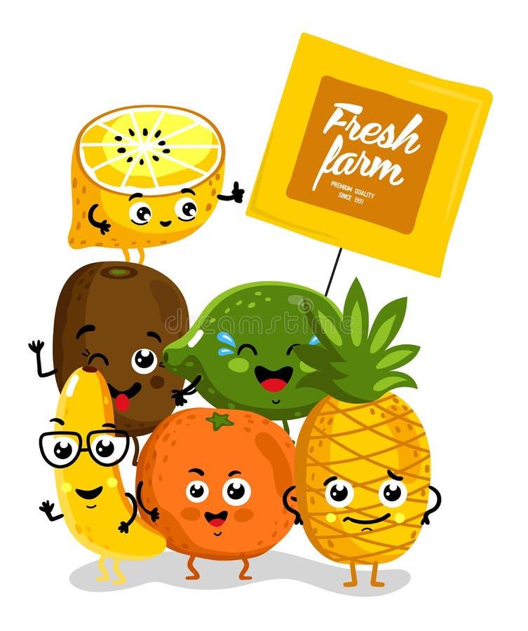Personnages de dessin animé d'isolement par fruit drôle illustration stock
