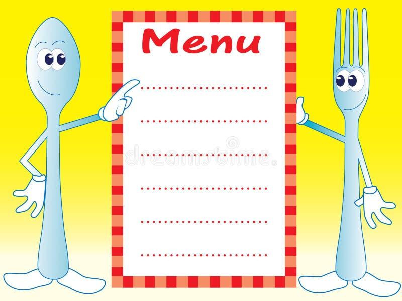 Personnages de dessin animé de cuillère et de fourchette illustration stock