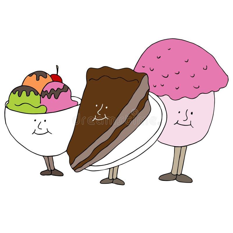 Personnages de dessin animé de dessert illustration stock