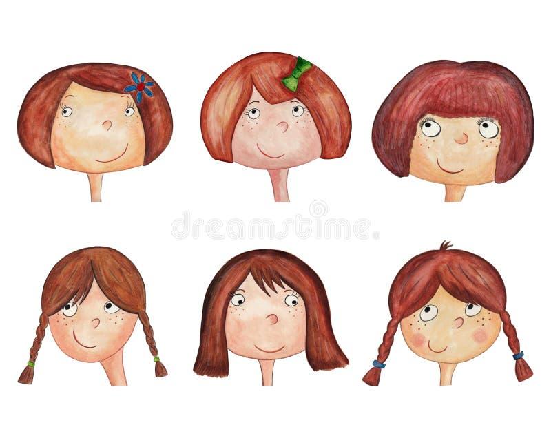 Personnages de dessin animé de filles. avatars illustration libre de droits