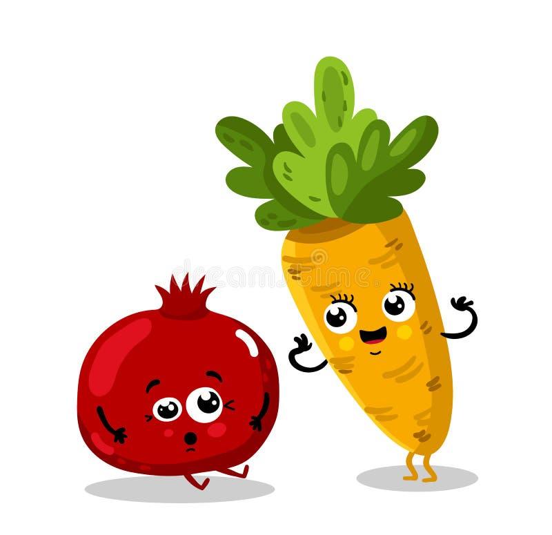 Personnages de dessin animé drôles de fruits et légumes illustration de vecteur