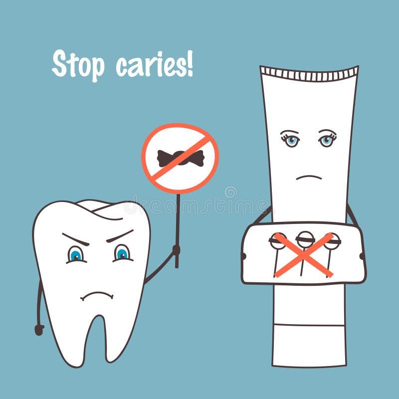 Personnages de dessin animé fâchés de dent et de pâte dentifrice Arrêtez la carie Santé orale, thème médical Illustration tirée p illustration de vecteur