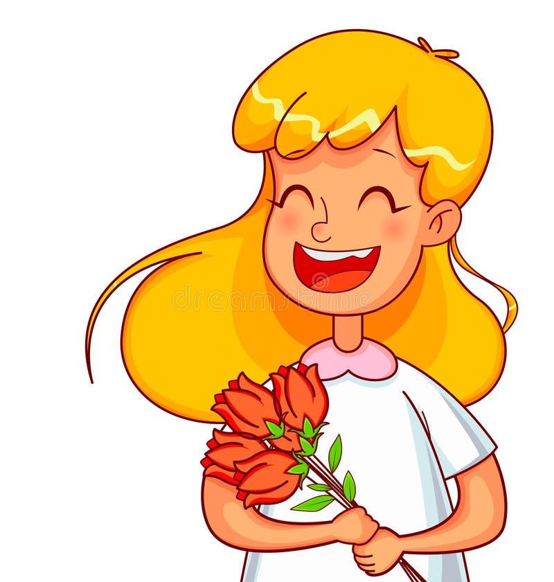Personnages de dessin animé de fille avec un bouquet des tulipes illustration stock