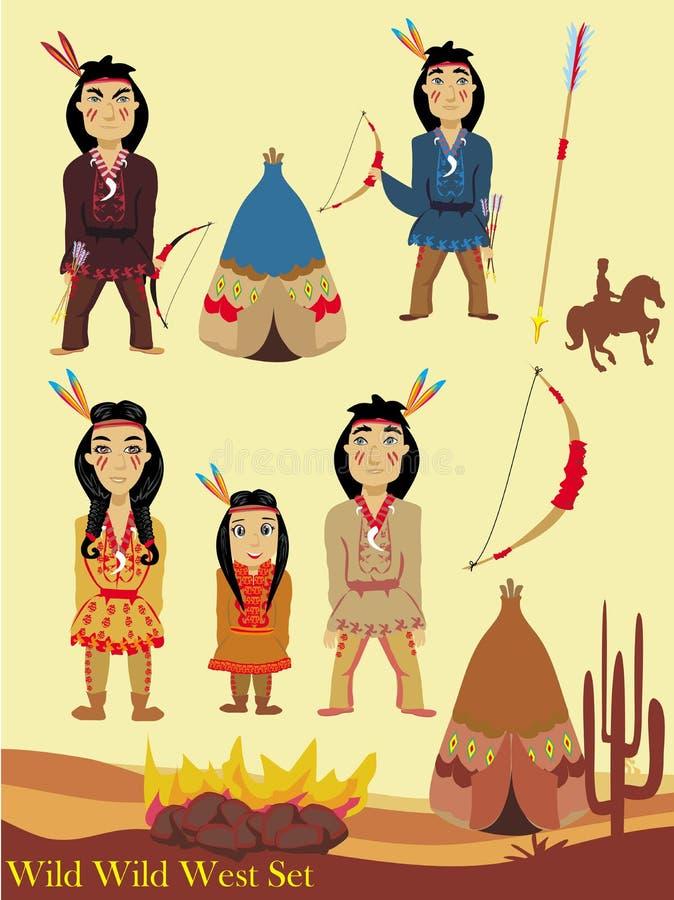 Personnages de dessin animé indiens, collection occidentale sauvage illustration stock