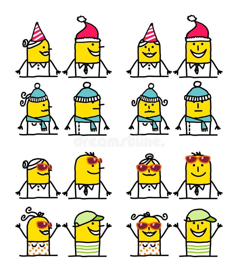Personnages de dessin animé - l'hiver et été illustration libre de droits