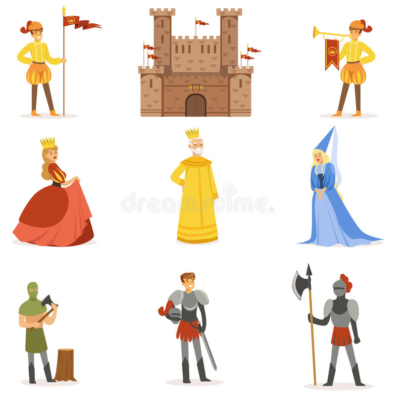 Personnages de dessin animé médiévaux et attributs européens de période historique de Moyens Âges réglés des icônes illustration stock