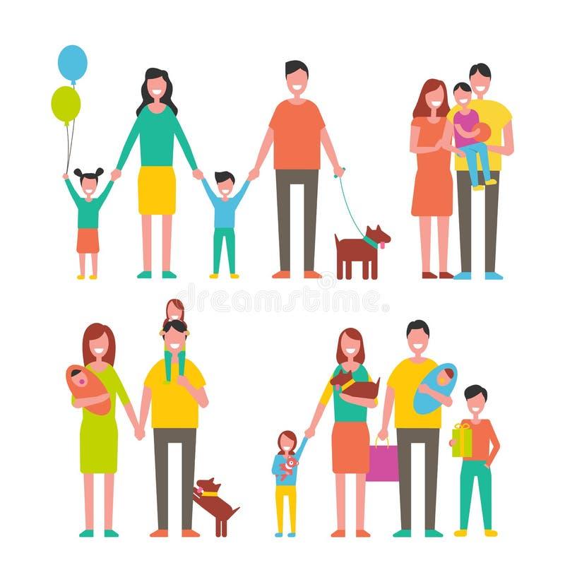 Personnages de dessin animé de membres de la famille marchant ensemble illustration stock