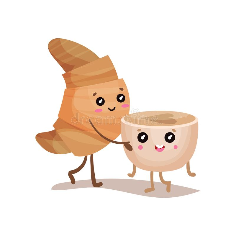 Personnages de dessin anim mignons de caract res de tasse de croissant et de caf illustration - Tasse de cafe dessin ...