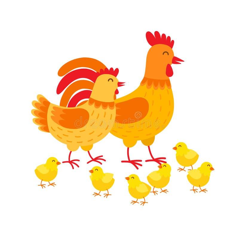 Personnages de dessin animé mignons de famille de poules Poule, coq et poulets d'isolement sur le fond blanc Vecteur heureux de  illustration de vecteur