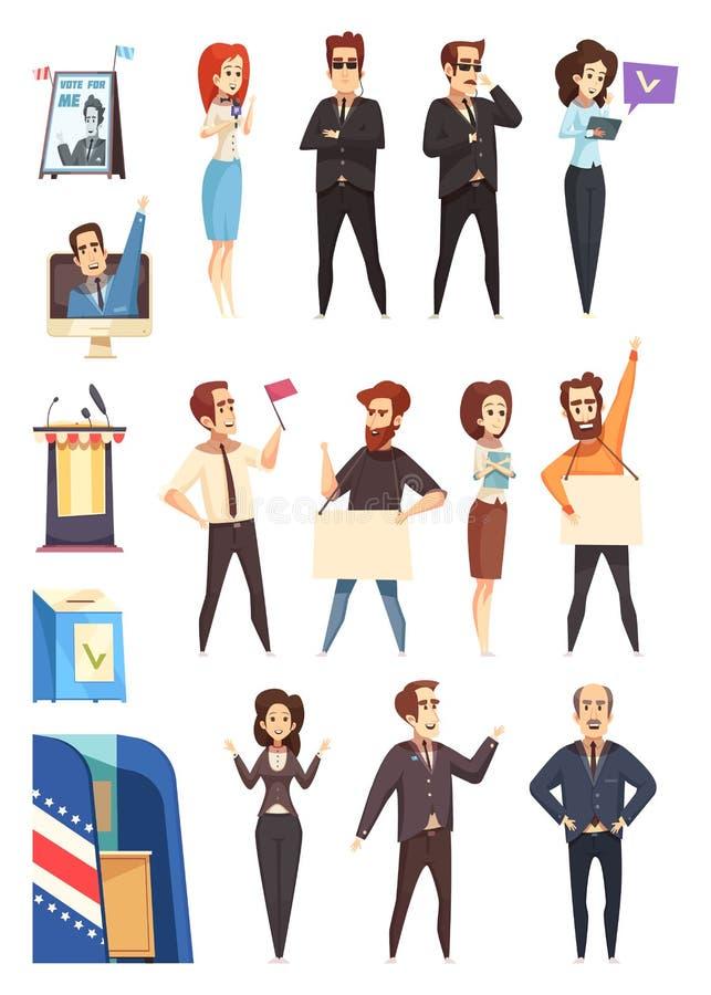 Personnages de dessin animé de politiciens de la politique réglés illustration de vecteur