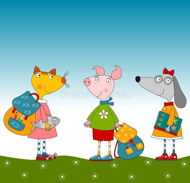 Personnages de dessin animé. Porc, chien et chat illustration stock