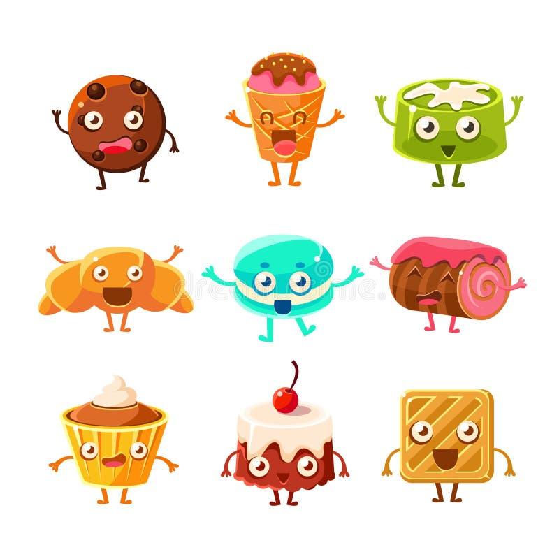 Personnages de dessin animé puérils de pâtisserie douce de dessert réglés avec des biscuits, des gâteaux, des biscuits et la glac illustration stock
